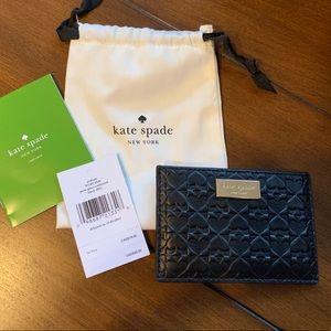 NWT Kate Spade Embossed Black Card Case Wallet
